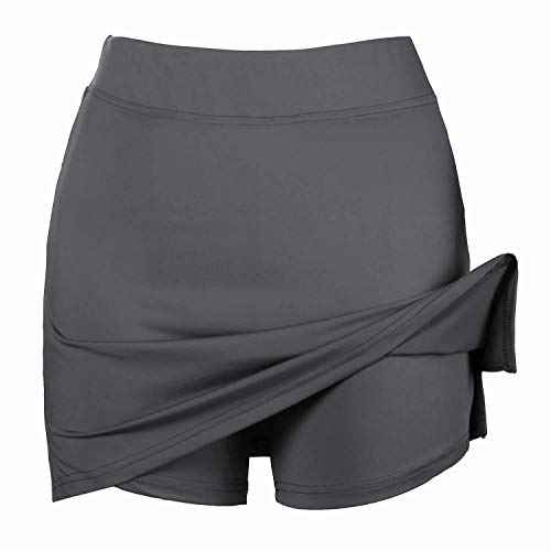 Misterjolly Women's Skort 1/2Pcs Girls Active Athletic Skirt for Running Tennis Golf Workout Sports S-XXL Gray