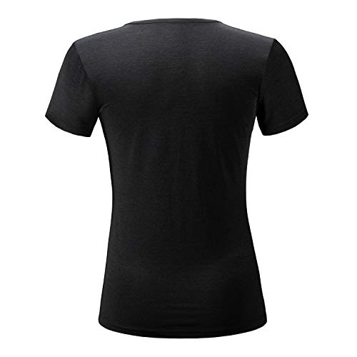 ANIVIVO Tennis Shirts for Women Short Sleeves, Women Golf Tank Tees Pullover Active Solid T-Shirts V-Neck Tennis Clothing& Women Running Shirts(Black,S)