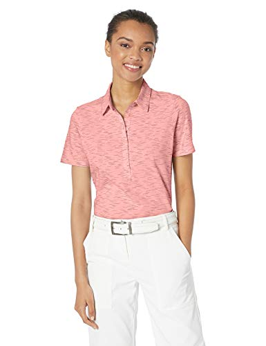 Skechers Golf Women's Spacedye Heathered Short Sleeve Golf Polo II, White, L