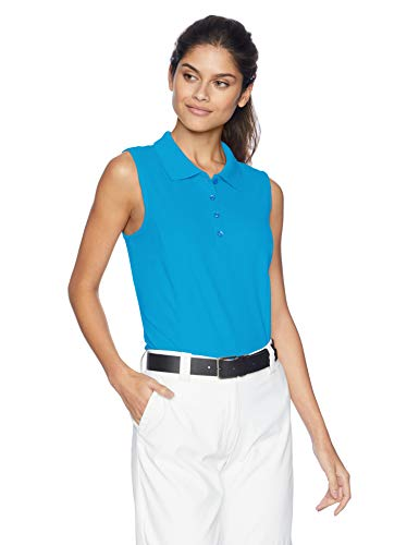 Greg Norman Women's Protek Micro Pique S/l Polo, Atlantic Blue, Large