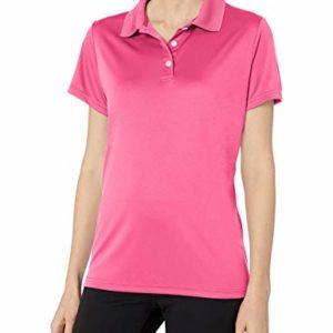 Hanes Sport Women's Cool DRI Performance Polo,Wow Pink,X-Large