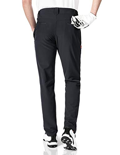 aoli ray Mens Golf Pants Tapered Slim Fit Stretch Expandable Waist(Black,XL)