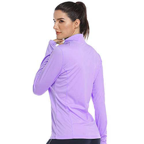HISKYWIN Womens UPF 50+ Sun Protection Tops Long Sleeve Half-Zip Thumb Hole Outdoor Performance Workout Shirt HF806 Light Purple S