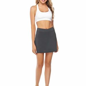 Misterjolly Women's Skort 1/2Pcs Girls Active Athletic Skirt for Running Tennis Golf Workout Sports S-XXL Gray