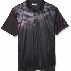 PGA TOUR Men's Ombre Argyle Short Sleeve Polo Golf Shirt, Caviar, S