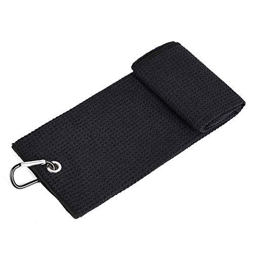 Mile High Life Tri-fold Golf Towel | Premium Microfiber Fabric | Waffle Pattern | Heavy Duty Carabiner Clip (Black)