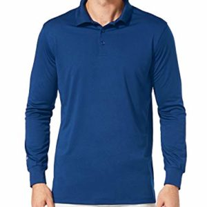 BALEAF Men's UPF 50+ Golf Solid Polo Active Performance Shirt Long Sleeve Ocean Blue Size Size S