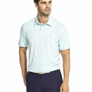 IZOD Men's Performance Golf Greenie Short Sleeve Stripe Polo Shirt, Blue Radiance, XX-Large