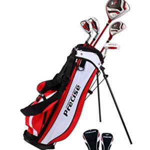 Distinctive Right Handed Junior Golf Club Set for Age 6 to 8 (Height 3'8″ to 4'4″) Set Includes: Driver (15″), Hybrid Wood (22, 2 Irons, Putter, Bonus Stand Bag & 2 Headcovers
