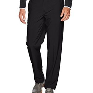 IZOD Men's Golf Swing Flex Stretch Flat Front Pant, black, 33W X 30L