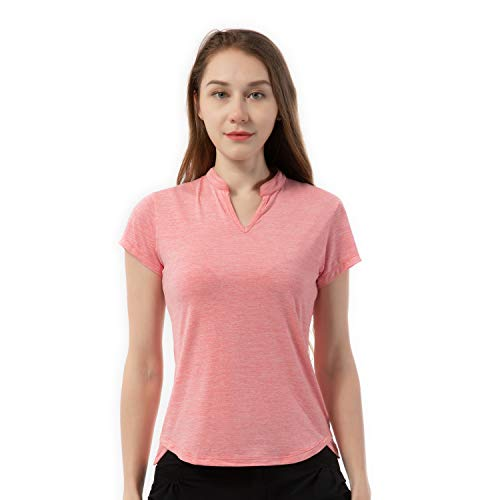 Women's Golf Tennis Shirts Short Sleeve Polo T Shirts Tops V Neck Dry Fit Red M