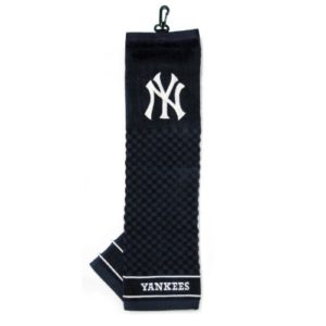 Team Golf MLB New York Yankees Embroidered Golf Towel, Checkered Scrubber Design, Embroidered Logo