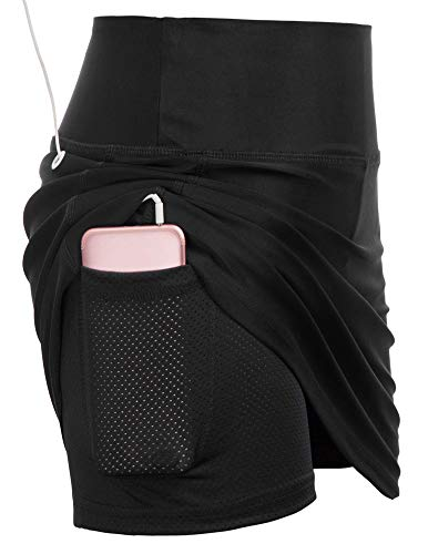 JACK SMITH Women's Running Skirt Active Athletic Skorts with Shorts Pocket for Tennis Golf Sport Workout (S,Black)