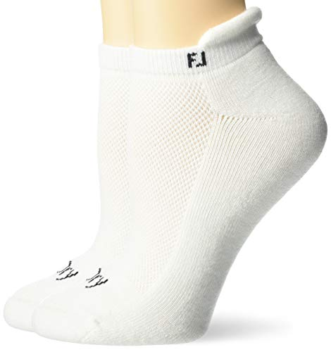 FootJoy Women's ProDry Roll Tab 2-Pack Socks, White, Fits Shoe Size 6-9