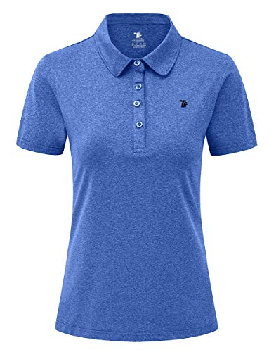 YSENTO Women Golf Shirts Collared Moisture Wicking Short Sleeve Athletic Gym Workout Shirts(Blue, Size S)