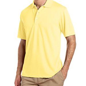 PGA TOUR Men's Airflux Short Sleeve Solid Polo-Shirts, Pale Banana, M