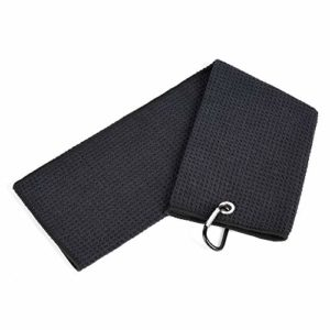 Mile High Life Tri-fold Golf Towel | Premium Microfiber Fabric | Waffle Pattern | Heavy Duty Carabiner Clip (Black)
