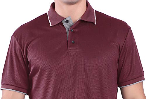 Men's Golf Polo Shirt Quick-Dry Short Sleeve Solid Regular-fit Red M