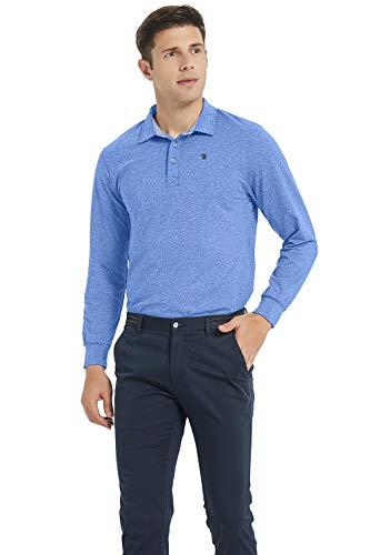 MoFiz Men's Golf Shirts Long-Sleeve Polo Shirt Workout Active Sports Blue Size L