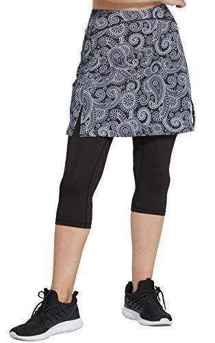 slimour Women Golf Skirt with Leggings Capri Skirt Leggings with Pockets Skirted Leggings Paisley XL