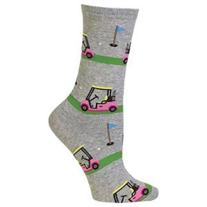 Hot Sox Womens Crew Socks, Golf Cart, Sweatshirt Gray, Womens sock size 9-11; shoe size 4-10.5