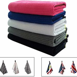 Golf Towels for Golf Bags with Clip Men Women Waffle Pack, Microfiber Towel with Grommet USA Flag Eagle UK or Personalized in Color Black Blue White (Nine & Wine, 14″ x 42″)
