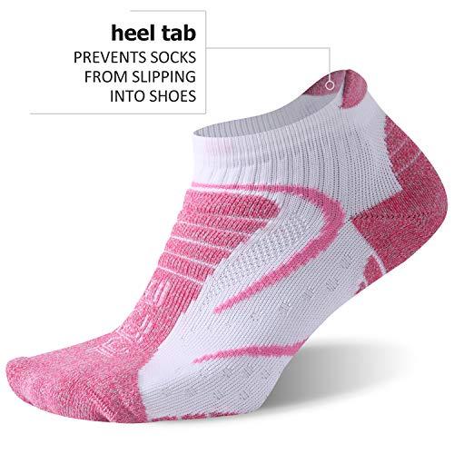 Facool Women's Golf Sock, Zone Cushion Low Cut Athletic Sport Socks for Hiking/Marathon/Running/Jogging 3 Pairs Purple/White Large