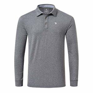 MoFiz Men's Polo Shirts Golf Shirt Playoff Long Sleeve Performance Deep Gray Size S