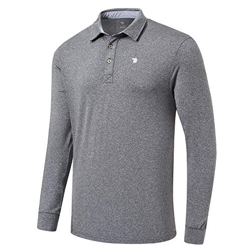 MoFiz Men's Polo Shirts Golf Shirt Playoff Long Sleeve Performance Deep Gray Size S