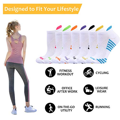 JOYNÉE Womens-Ankle-Athletic-Socks Low Cut Sports Running Socks 7 Pairs Days of the Week Socks,Sock Size 9-11,White