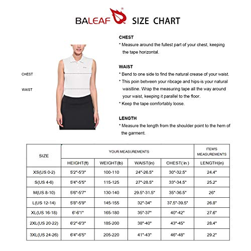 BALEAF Women's Golf Sleeveless Polo Shirts Tennis Tank Tops Quick Dry UPF 50+ White Size XXL