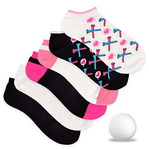 TeeHee Women's Golf Socks No Show Socks 6-Pairs Assorted (Heart with Tee)