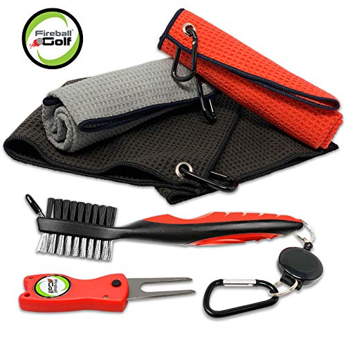 Fireball Golf Towel Gift and Accessories Set – 3 golf towels, golf divot tool, ball marker, and golf cleaning brush, golf gifts for men, women, children ( many colors)