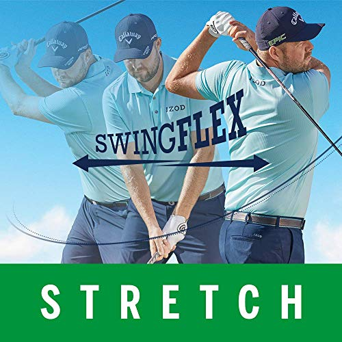 IZOD Men's Golf Swing Flex Stretch Flat Front Pant, black, 33W X 30L