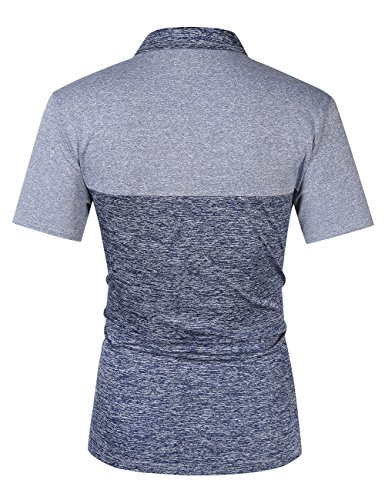Yong Horse Golf Shirts for Men,Dry Fit Short-Sleeve Polo, Athletic Casual Collared T-Shirt S Bluegrey