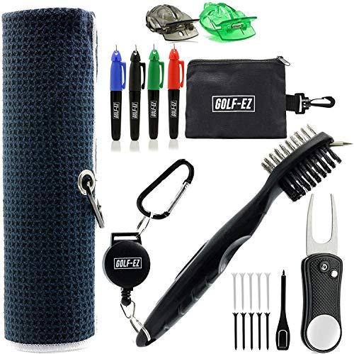 Golf-EZ Golf Essentials 21 Piece Kit | Microfiber Towel | Retractable Cleaning Brush | Divot Repair Tool | Golf Ball Alignment Marking Tool | Marker Set | Carry Case