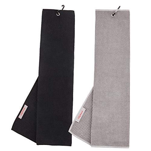 haphealgolf Golf Towel (2 Pack) 16″ x 21″ Tri-fold Microfiber Waffle with Carabiner Clip (Black+Gray)