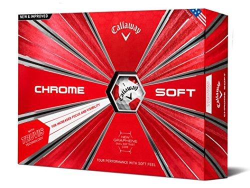 Callaway Golf Chrome Soft Truvis Golf Balls, (One Dozen), Truvis Red (Prior Generation)