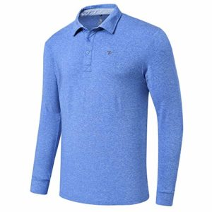 MoFiz Men's Golf Shirts Long-Sleeve Polo Shirt Workout Active Sports Blue Size L