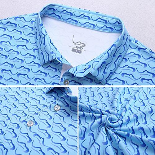 EAGEGOF Regular Fit Men's Shirt Stretch Tech Performance Golf Polo Shirt Short Sleeve S (Blue Ocean Wave)