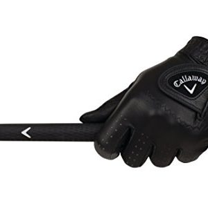 Callaway Golf Men's OptiColor Leather Glove, Black, Medium/Large, Worn on Left Hand