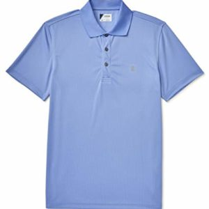 IZOD Men's Performance Golf Grid Short Sleeve Stretch Polo Shirt, Riviera Blue/Grey Logo, Large