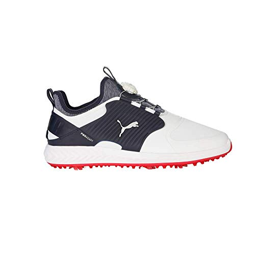 Puma Golf Men's Ignite Pwradapt Caged Disc Golf Shoe, Puma White-Puma Silver-Peacoat, 9.5 M US