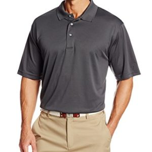 PGA TOUR Men's Airflux Short Sleeve Solid Polo-Shirts, Asphalt, XL
