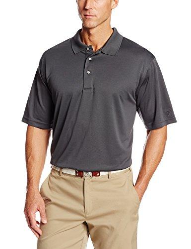 PGA TOUR Men's Airflux Short Sleeve Solid Polo-Shirts, Asphalt, XL