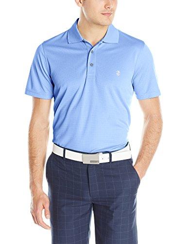 IZOD Men's Performance Golf Grid Short Sleeve Stretch Polo Shirt, Riviera Blue/Grey Logo, Large