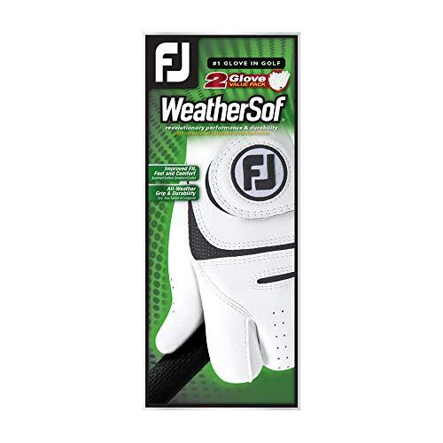 FootJoy Men's WeatherSof 2-Pack Golf Glove White Medium/Large, Worn on Left Hand