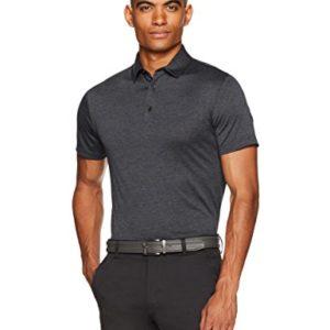 Amazon Essentials Men's Tech Stretch Polo Shirt, Black Heather, Medium