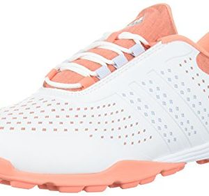 adidas Women's Adipure Sport Golf Shoe, White/Aero Blue/Chalk Coral, 9.5 Medium US