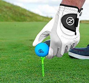 Zero Friction Male Men's Cabretta Elite Golf Glove 2 Pack, Free Tee Pack White & White, Universal Fit
